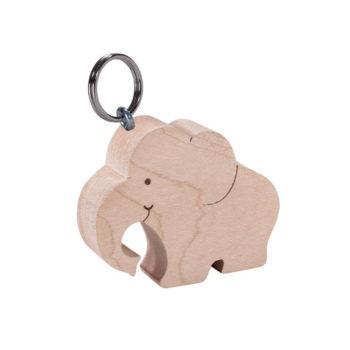 Holz Schlüsselanhänger Elefant - Rüssel unten