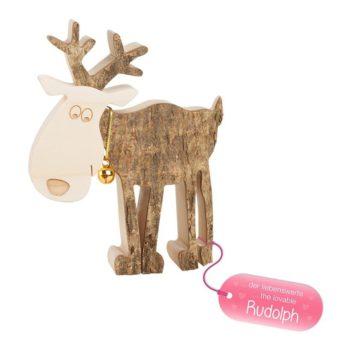 "Holz Rentier ""Rudolph"" - groß"