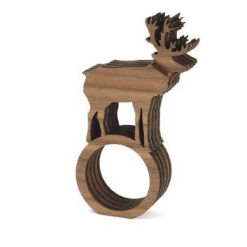 Serviettenringe mit Hirsch 4er Set Holz