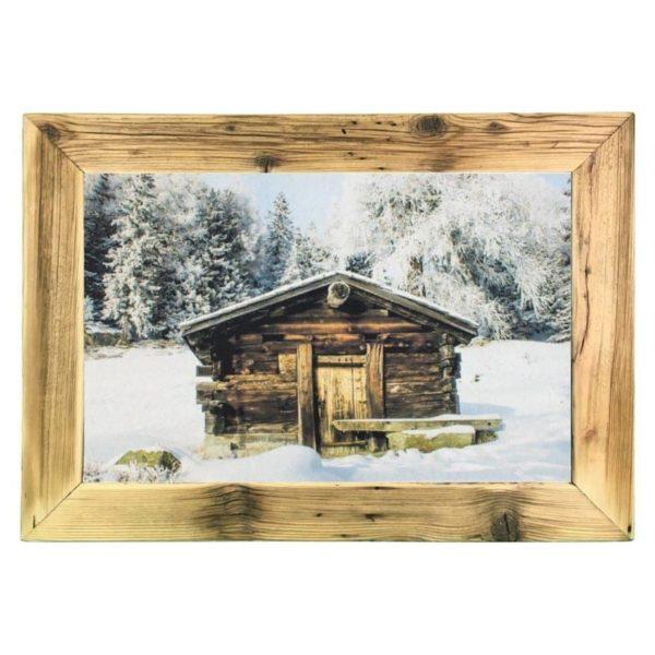 Altholz Bilderrahmen mit Winter-Berghütte