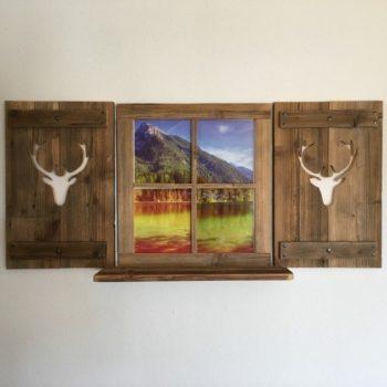 Deko Fenster aus Altholz mit Regal