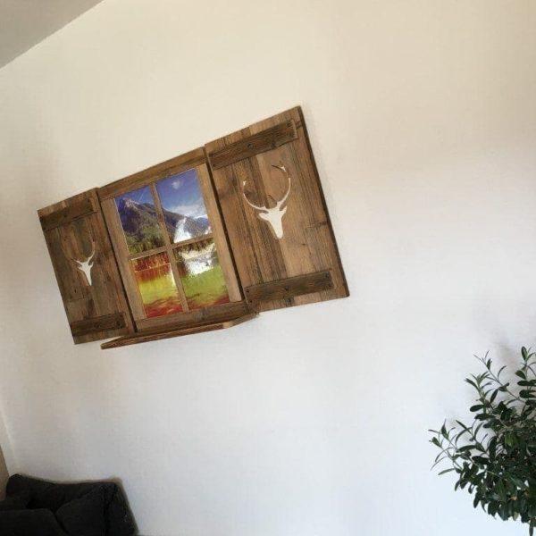 Altholz Deko Fensterladen Set - Hirsch