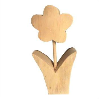 Blume aus Holz mit Rinde - groß