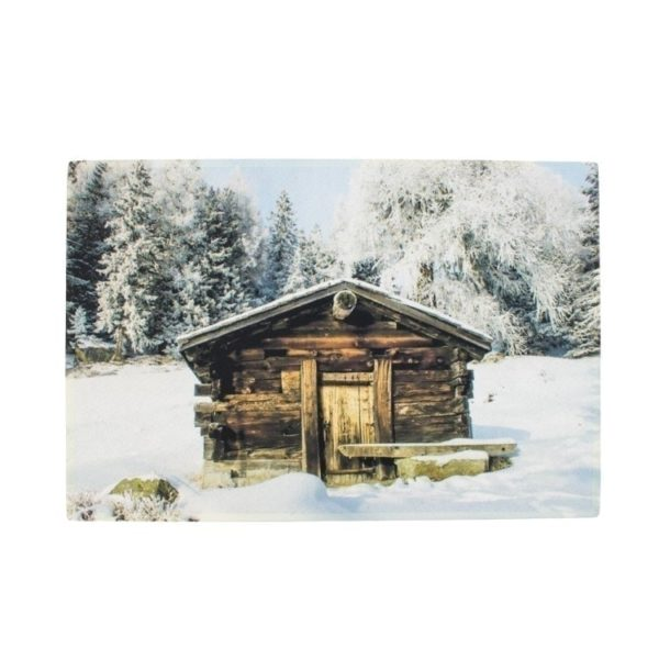 Fußmatte mit Berghütte im Winter - groß
