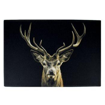 Fußmatte mit Hirsch schwarz - groß