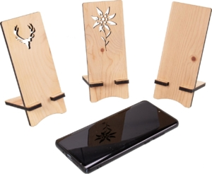 Handyhalter aus Holz - Edelweiß