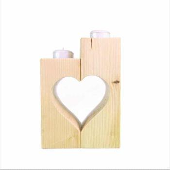 Teelichthalter Set aus Holz - Herz