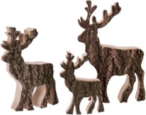 Holz-Hirschmit Rinde - mittel (Bild2) | Hirsche aus Holz zum stellen online kaufen im Dekoshop von Allgaier-Allerlei®