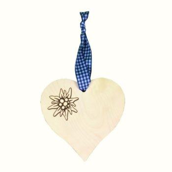 Holz Herz mit Edelweiß - blau