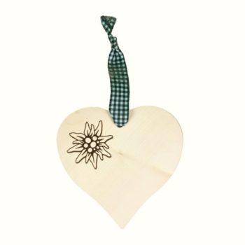Holz Herz mit Edelweiß - grün