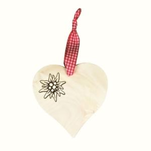 Holz Herz mit Edelweiß - rot