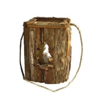 Holz Laterne mit Tanne klein