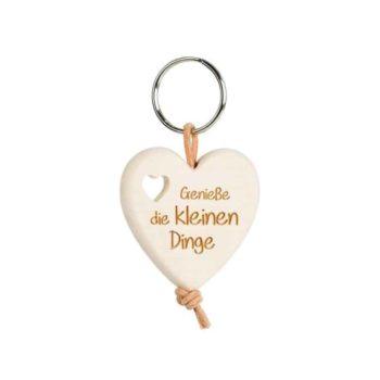 Holz Schlüsselanhänger Herz - Genieße die kleinen Dinge
