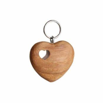 Holz Schlüsselanhänger Herz in Herz