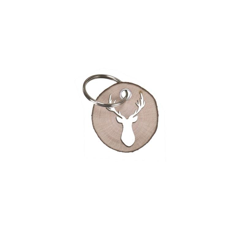 Schlüsselanhänger Rindenscheibe - Hirsch