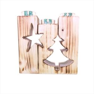 Holz Teelichthalter geflammt - Stern und Tanne