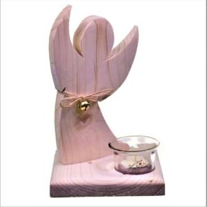 Holzengel Teelichthalter