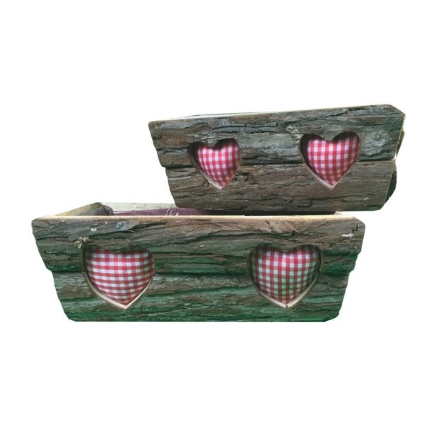 Holz Pflanzschale mit Herz - 2er Set