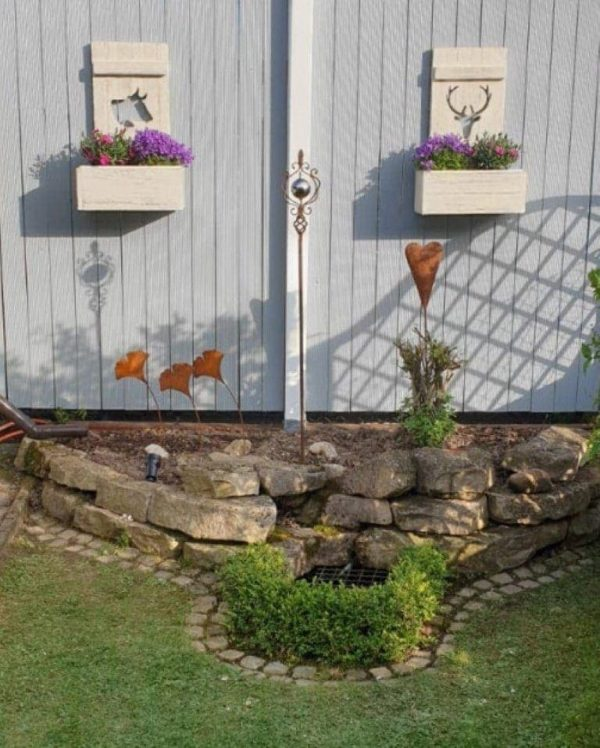 Shabby Chic Deko Fensterladen Hirsch mit Blumenkasten