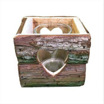 Teelichthalter aus Holz - Herz