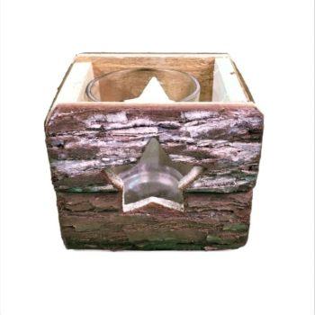 Teelichthalter aus Holz - Stern