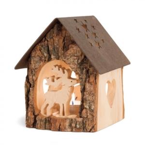 Holz Teelichthalter - Haus mit Hirsch