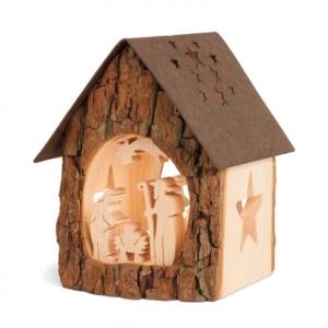 Holz Teelichthalter - Haus mit Krippe