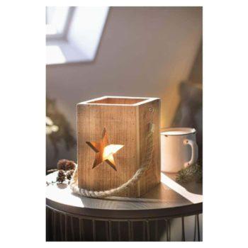 Windlicht aus Holz - Stern