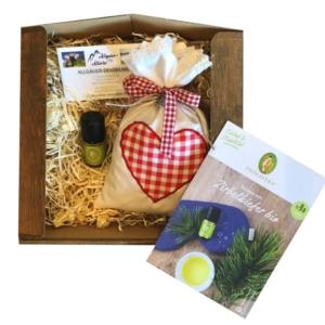 Duftkissen Zirbe mit Herz – Geschenkset