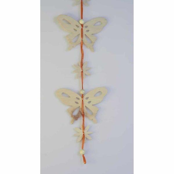 Zirbenholz Hängedeko - Schmetterling & Blumen
