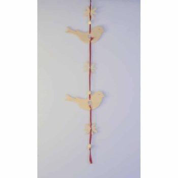Zirbenholz Hängedeko - Vögel & Blumen
