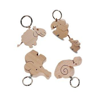 Holz Schlüsselanhänger - Elefantenfamilie