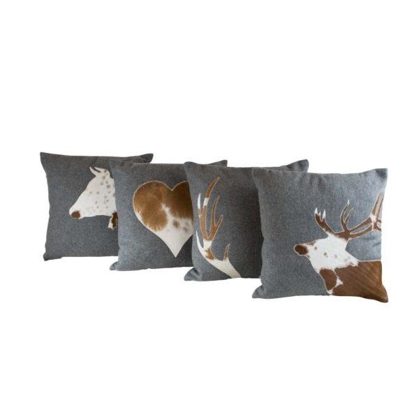 Alpenstyle Zierkissen grau - Hirsch