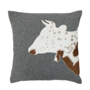 Alpenstyle Zierkissen grau - Kuh
