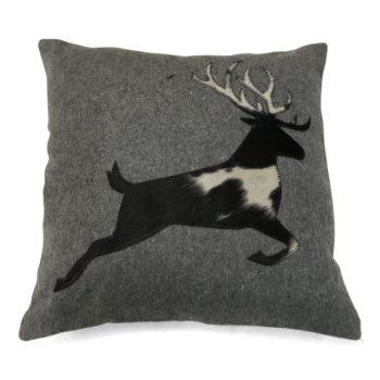 Alpenstyle Zierkissen grau - springender Hirsch