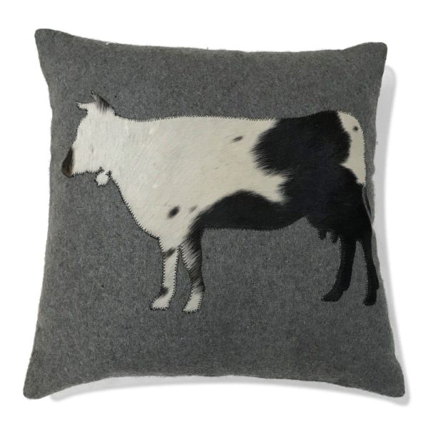 Alpenstyle Zierkissen grau - Kuh seitlich