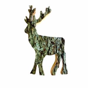 Holz-Hirschmit Rinde - groß | Holzhirsch online bestellen im Dekoshop bei Allgaier-Allerlei®