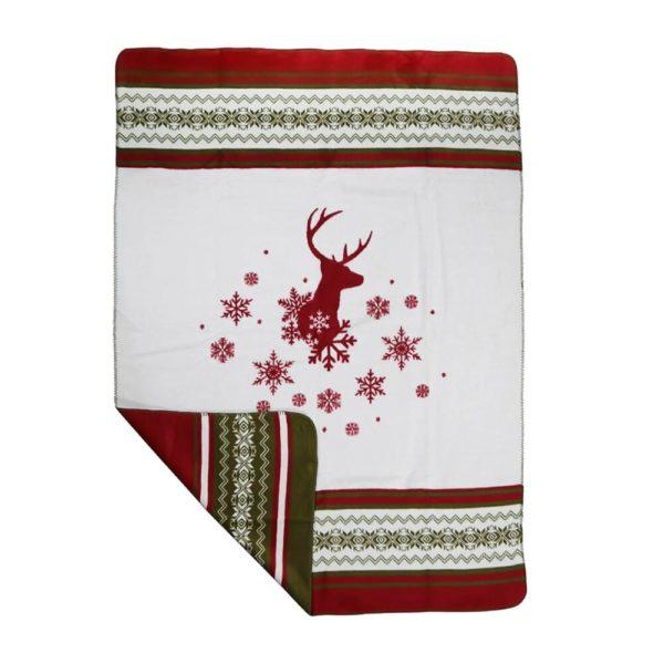 Kuschelige Weihnachtsdecke mit Hirschkopf in Rot jetzt online bestellen im Dekoshop auf www.allgei.de