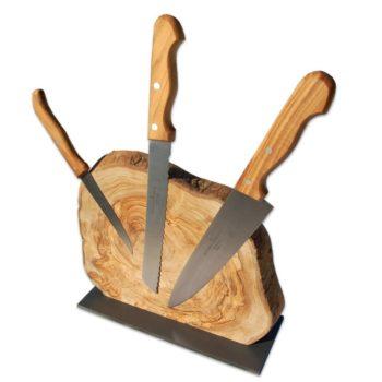 Baumscheibe als Messerblock mit Magneten für ein rustikal und edel anzusehendes Küchenaccessoire in Deinem Zuhause von Allgaier-Allerlei®