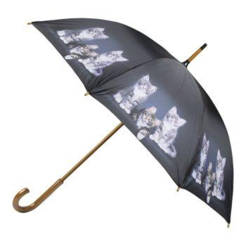 Regenschirm mit niedlichen Kätzchen in Schwarz | Extravaganter Regenschutz für Katzenliebhaber jetzt online bestellen im Dekoshop auf www.allgei.de von Allgaier-Allerlei