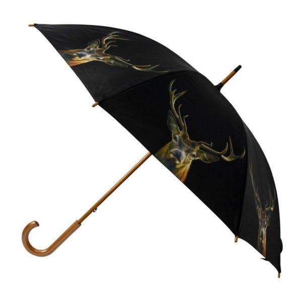 Schwarzer Regenschirm mit Hirsch jetzt im Dekoshop auf www.allgei.de online bestellen