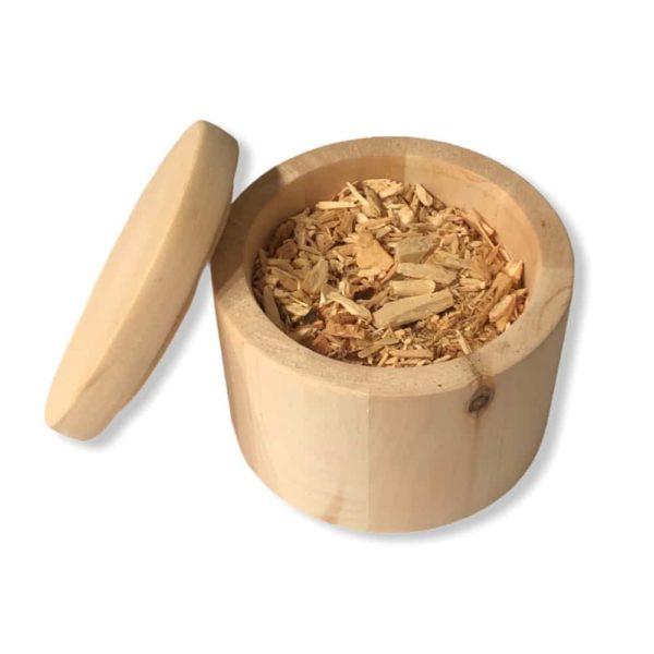Zirben-Duftdose mit Deckel und Zirbenholz-Hackschnitzel für einen besonderen Raumduft jetzt online kaufen im Dekoshop von Allgaier-Allerlei®