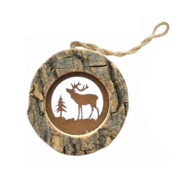 Rustikaler Christbaumschmuck aus Holz mit Edelrost für eine außergewöhnliche Weihnachtsdekoration von Allgaier-Allerlei