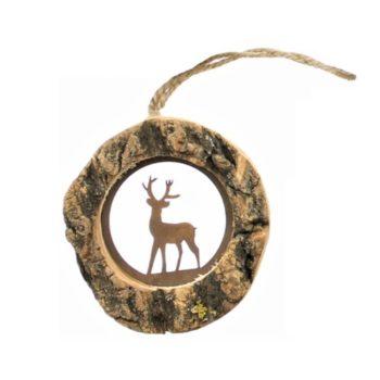 Christbaumschmuck oder Fensterdeko zu Weihnachten aus Holz mit Edelrost Hirsch zum aufhängen in Rund von Allgaier-Allerlei