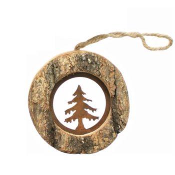 Rustikaler Christbaumschmuck aus Holz mit rostig veredeltem Motiv aus Metall für Deine gelungene Weihnachtsdekoration
