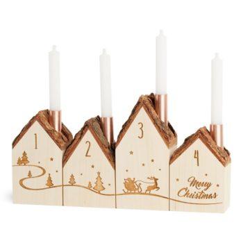 Adventshäuschen-Set vierteilig mit Puppenkerzen zur Weihnachtsdekoration jetzt online kaufen bei Allgaier-Allerlei